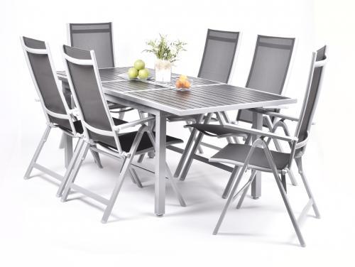 Výrobek Garland Astonia 6+ - sestava nábytku z hliníku (1x rozkl. stůl Raphael + 6x pol. křeslo Evan Comfort)