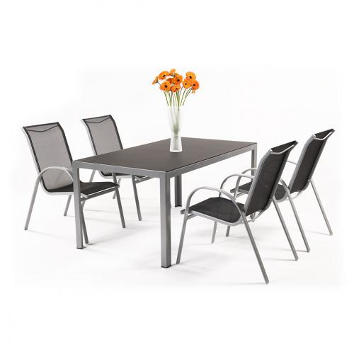 Výrobek Creador Vergio 4+ - sestava nábytku z hliníku (1x stůl Frankie + 4x židle Vera Basic)