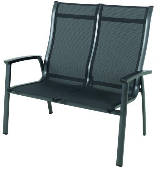 Výrobek MWH Royal Richmond - hliníková stohovatelná  dvojitá lavice 74,5 x 113 x 108,5 cm